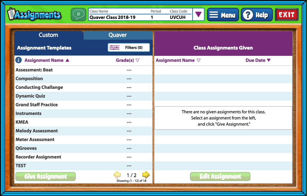 Assigned Assignments under Teacher Navigation helps teachers deliver one assignment to multiple classes.