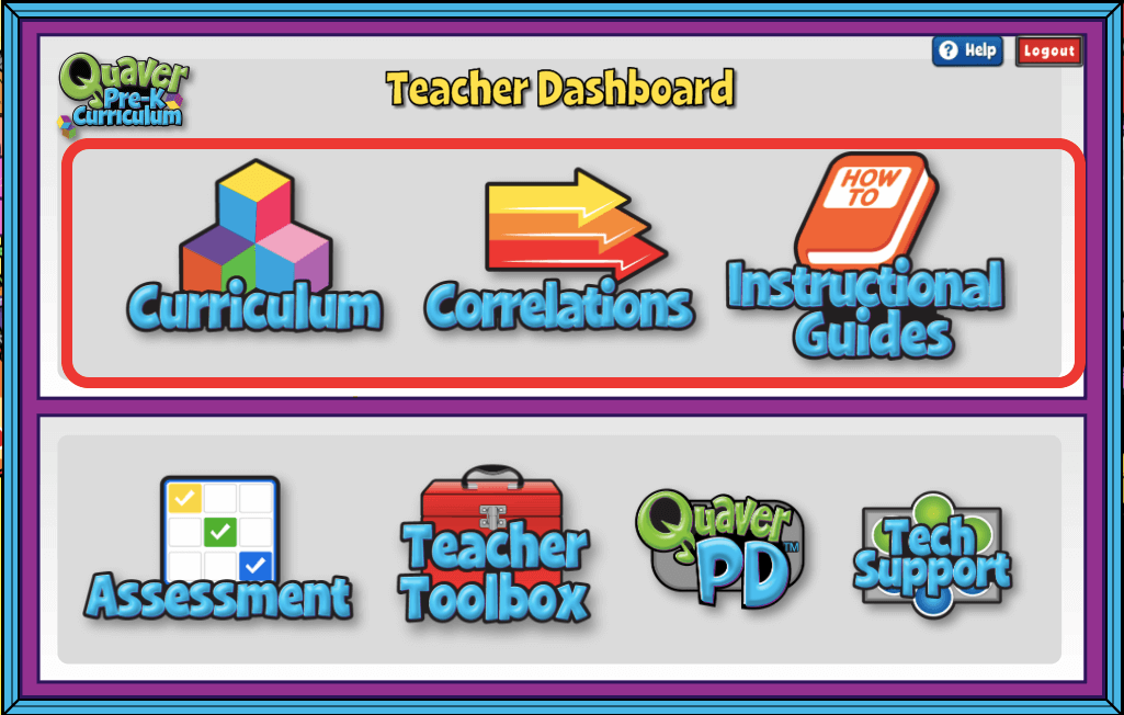 Sections of Teacher Dashboard