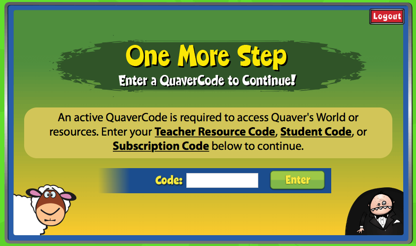Quaver screen prompting user for a code