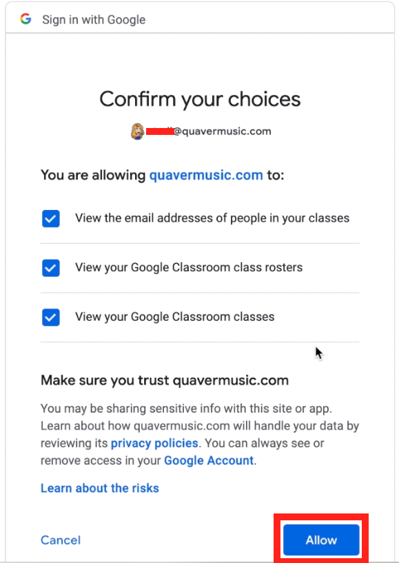 Google Classroom rostering scope allow screen